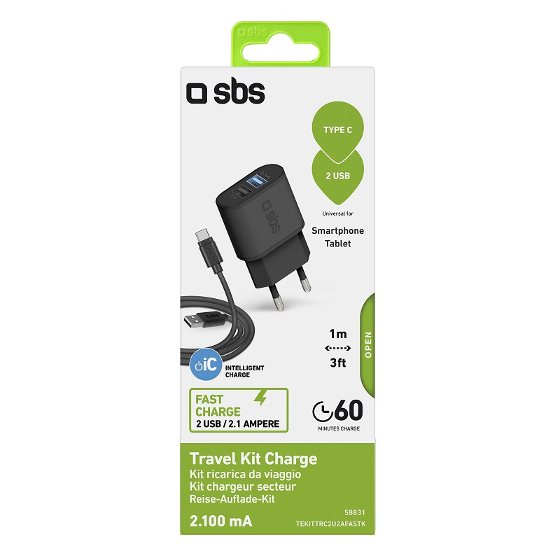 SBS KIT CAR.BATT.2USB 2.1A+CAVO TYPE C