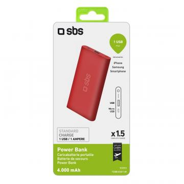 SBS POWER BANK POLYMER 4000MAH RED